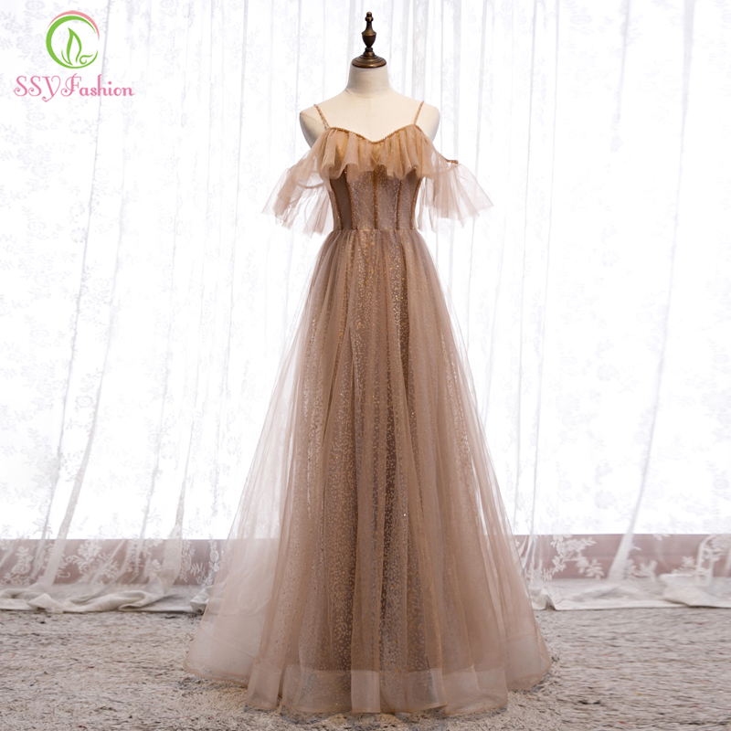 SSYFashion New Sexy Khaki Evening Dress V-neck Strap Floor-length Sequins Beading Long Simple Prom Party Gowns Vestido De Noche