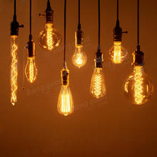 Retro Edison Light Bulb E27 220V 40W 60W A19 ST64 T10 T30 T185 G80 G95 G125 Filament Vintage Ampoule Incandescent Bulb(China)