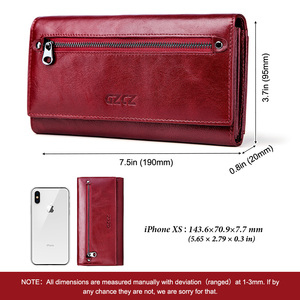 Image 4 - GZCZ Women Clutch Wallets 100% Genuine Leather RFID Multiple Cards Holder Long Fashion  Female Coin Purse With Phone Bag  2020