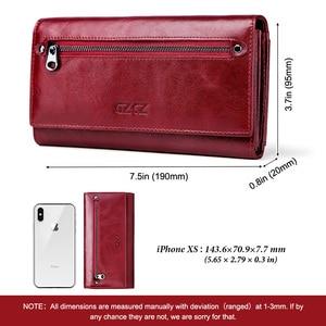 Image 4 - Gzcz女性クラッチ財布100% 本革rfid複数のカードホルダーロングファッション女性コイン財布電話バッグ2020