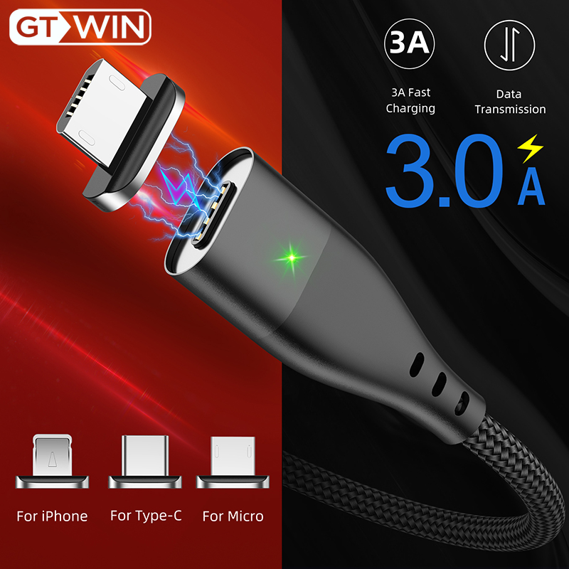 GTWIN Magnetic Cable Flat Type C Cable Fast Charging For Xiaomi Note 8 iPad Pro Micro USB Magnet Charger For iPhone Charge Cable