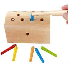 Детские деревянные магнитные игры для ловли червей в форме гусеницы