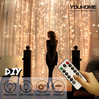 Cortina de luces LED, tira de luces USB, 3x 1/3x 2/3x3 M, guirnalda de luces de hadas con Control remoto, dormitorio para decoración para hogar y boda