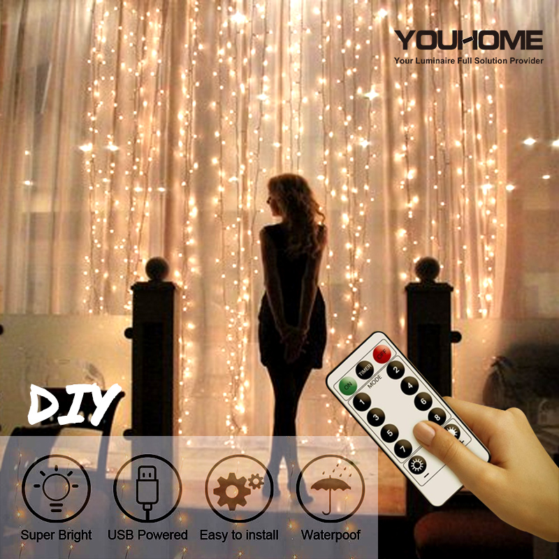 YOUHOME 3x1/3x2/3x3M LED Curtain String Lights USB String Lights Remote Control Fairy Light Garland Bedroom Home Decorative