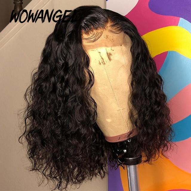 $ US $43.20 Curly Short Human Hair Wigs 150% Brazilian Remy Water Wave 4*4 Short Bob Lace Closure Wig For Women Frontal Cheap Lace Wig