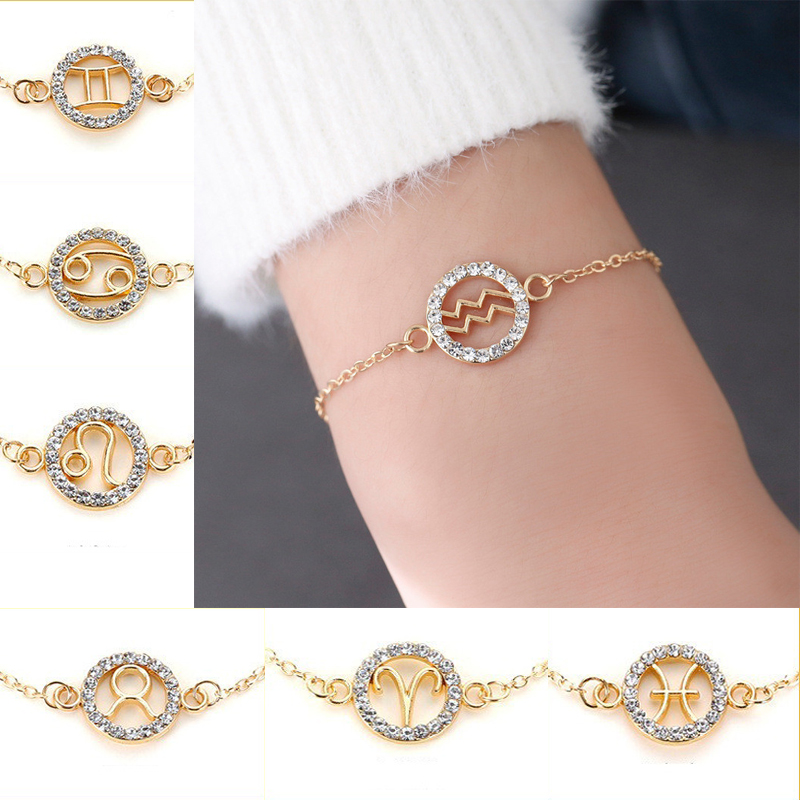 Classic Gold Color Crystal Constellations Bracelet 12 Zodiac Signs Charms For Women Girls Fashion Bangles Jewelry Party Gifts