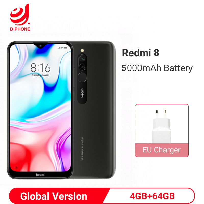 Xiaomi Redmi 8 4GB 64GB Global Version Smartphone Snapdragon 439 Octa Core 5000mAh Big Battery 12MP Dual Camera Mobile Phone