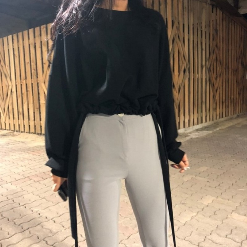 Casual Korean Oversize Pullover Womens Sweatshirt Autumn Hem Tether Short Solid Color Streetwear Women