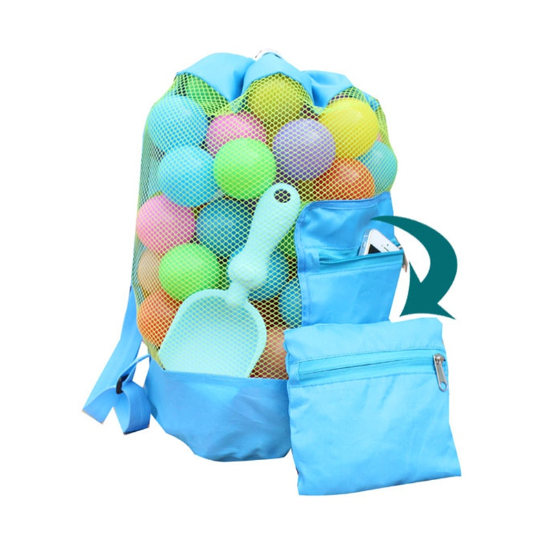 Outdoor Swimming Beach Bag Foldable Mesh Swimming Bag  Beach Toy Children Organizer Baskets Storage Backpack Kids Sportswear