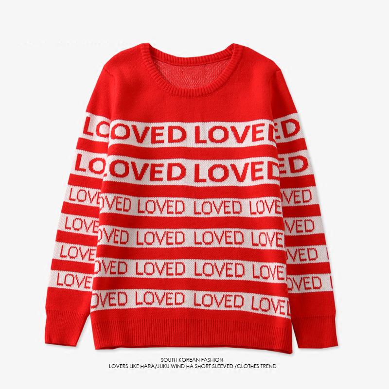 Drop Ship Free Womens  Winter Men Women Sweater DNA Suga Same Style Loved Pullover Kpop Student Lovers Harajuku Sweaters