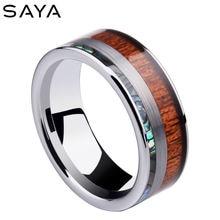 Мужское кольцо ширина 8 мм кольца из карбида вольфрама дерево
