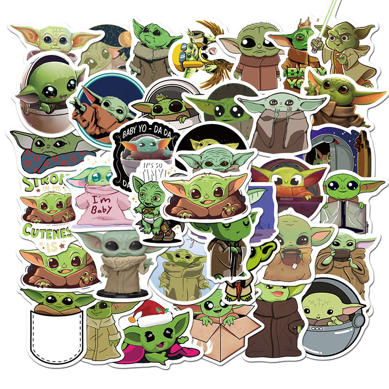 50PCS/PACK Baby Yoda Film The Mandalorian Cartoon Stickers For Laptop Skateboard Home Decoration Car Cute Decal Sticker F4