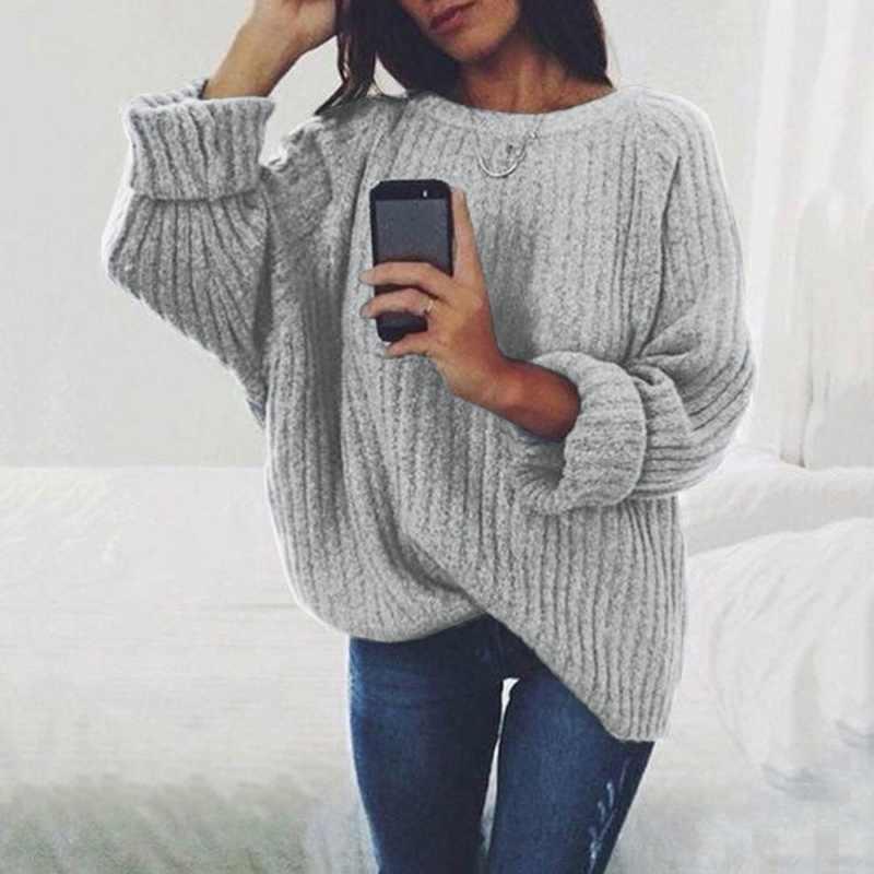 여성 솔리드 오 넥 니트 스웨터 2019 가을 겨울 패션 여성 풀오버 스웨터 숙녀 느슨한 니트 dropship