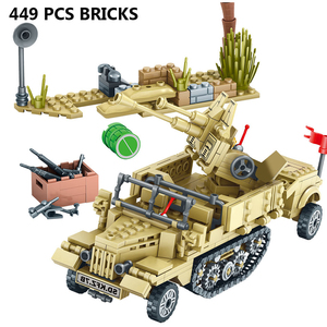 Image 3 - 400+Pcs Toy Blocks Army Soldiers Weapon Building Blocks Military Camp Trucks Jeeps Car Set Blocks  CompatibleToys For Child