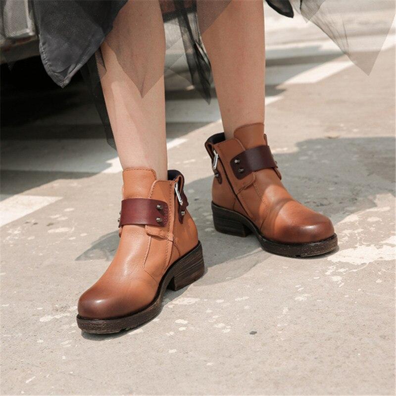 Mabaiwan Mode Nieten Frau Stiefeletten Braun Echtes Leder Zipper Warme Schuhe Frauen Winter Herbst Niet Retro Kurze Stiefel - 4
