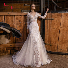 Vestido de noiva sereia manga comprida, vestido de noiva sereia aberto nas costas transparente, sexy, de casamento 2020
