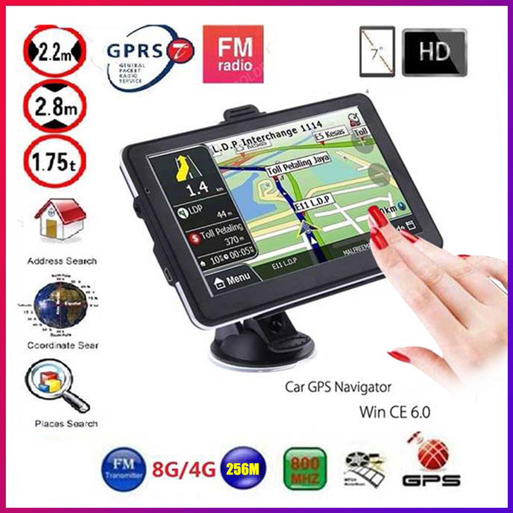 Gps Navigation 7 Inch TouchScreen Gps Navigator Car Vehicle Truck GPS Sat Nav BHT Optional Europe 2019 Maps Free Upgrade