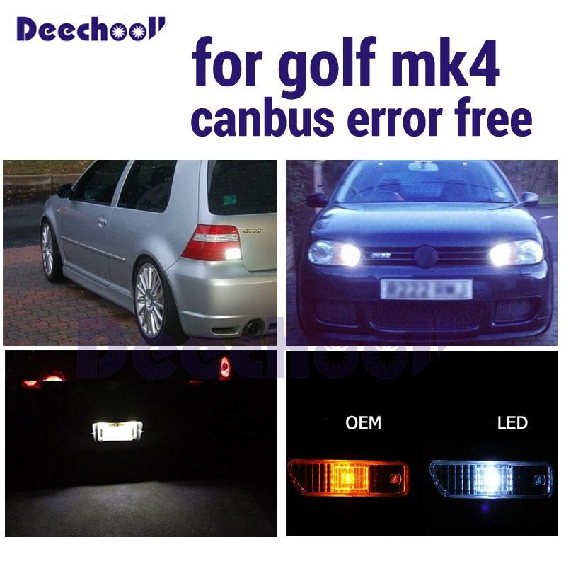 8pcs Parking City Light + Reverse Bulb + Side Marker Lights Kit For Volkswagen VW GOLF IV 4 MK4 GTI LED External Lamp 1999-2005