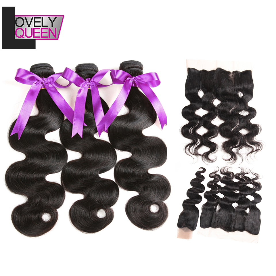 Lovely Queen Hair Indian Body Wave Bundles With Closure 8-28 Inch 100% Real Human Hair Extensions