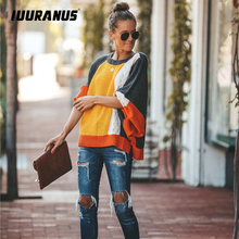 IUURANUS 2019 Women New Vintage Sweater Autumn Winter Casual Multi-Color Stitching O-Neck Lantern Sleeve Knitted Pullover Loose