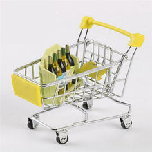 Creative Supermarket Mini Shopping Cart Trolley Metal Simulation Kid Toy supermarket cart simulation shopping trolley with fruits and vegetables toys for kids