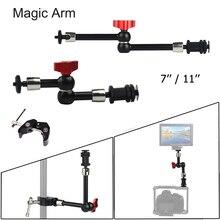"""7 """"11"""" קסם זרוע מתכוונן להרכבה HDMI צג LED אור וידאו פלאש מצלמה DSLR קסם מפרקי זרוע סופר קלאמפ"""
