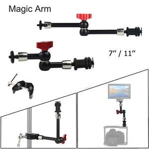 """Image 1 - 7 """"11"""" regulowane magiczne ramię do montażu monitora LED światło błyskające wideo aparat DSLR magiczne ramię przegubowe Super zacisk"""