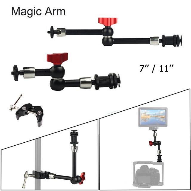 """7 """"11"""" regulowane magiczne ramię do montażu monitora LED światło błyskające wideo aparat DSLR magiczne ramię przegubowe Super zacisk"""