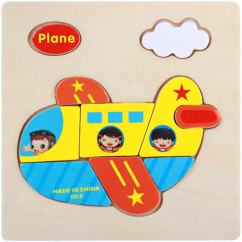 Sale MP026 Transportation Tools Series Plane Puzzles Toy Good For Kids Cartoon Jigsaw  Educational DIY Toys For Kids Wood Puzzle