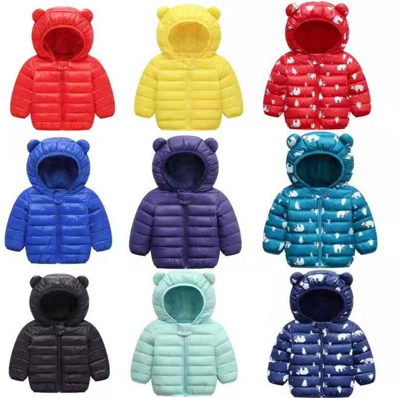 Kawaii Boys&Girls Cotton Autumn Winter Fashion Jackets  Kids Ear Hooded Outerwear Coat Children Cotton-padded Infant Warm Coat