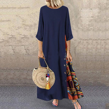 2020 Maxi Dress Women Casual Fashion Patchwork 3/4 Sleeves O-Neck  High Low Hem Plus Size Long Dress Boho Party dress plus size textured long sleeve high low dress