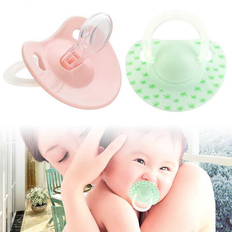 Smoczek dla dzieci różowy zielony płaski kciuk wzór smoczki dla niemowląt dla dzieci silikonowe smoczki bezpieczeństwa akcesoria do karmienia