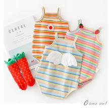 Summer Newborn Baby Girl Sleeveless Romper Infant Outing Clothes Cute Toddler Striped Suspender Jumpsuit Costume Outfits Sunsuit baby girl clothes summer ruffled sleeves blue white plaid baby romper newborn toddler kids jumpsuit sunsuit outfits