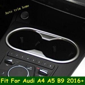 Image 1 - LAPETUS przednie siedzenie ramka trzymająca kubek z wodą Panel obudowa zgrabna Fit dla Audi A4 B9 A5 2016   2020 ABS Chrome wnętrze zestaw