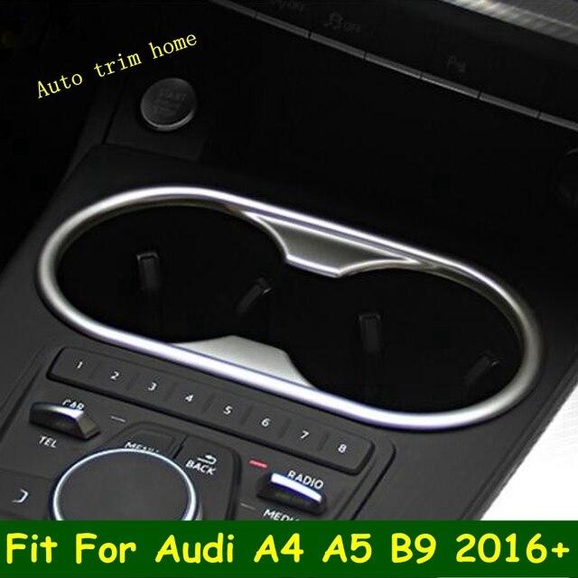 LAPETUS przednie siedzenie ramka trzymająca kubek z wodą Panel obudowa zgrabna Fit dla Audi A4 B9 A5 2016   2020 ABS Chrome wnętrze zestaw