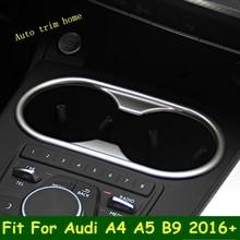 Lapetus assento dianteiro suporte de copo de água quadro painel capa guarnição apto para audi a4 b9 a5 2016   2020 abs chrome kit interior
