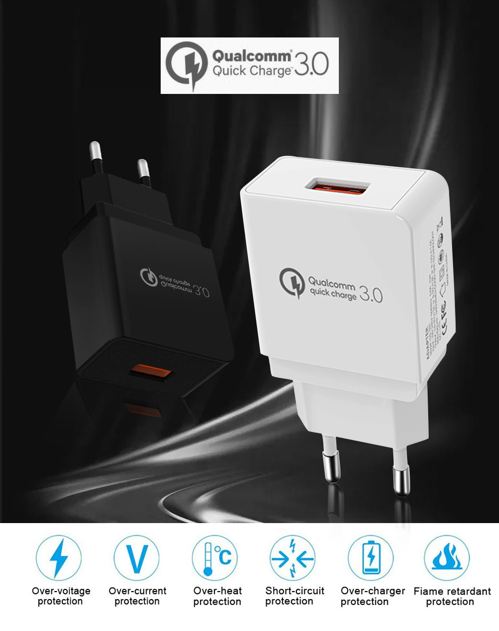 Quick Charge 3.0 18W USB Wall Charger Adapter Smart IC for Samsung S10 S9 Note 9 8 Xiaomi LG HTC Mobile Phone QC3.0 Fast Charger (1)