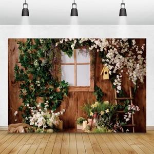 Image 5 - Laeacco fondos de Pascua casa de madera hierba verde flores Pascua huevos de conejo niños telones de fondo para retratos fotográficos Photocall
