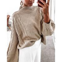 Khaki Knitted Turtleneck Oversized Sweater Women Fall Winter Clothes 2019 Casual Loose Jumper Pullovers 2019 New Design AB1594