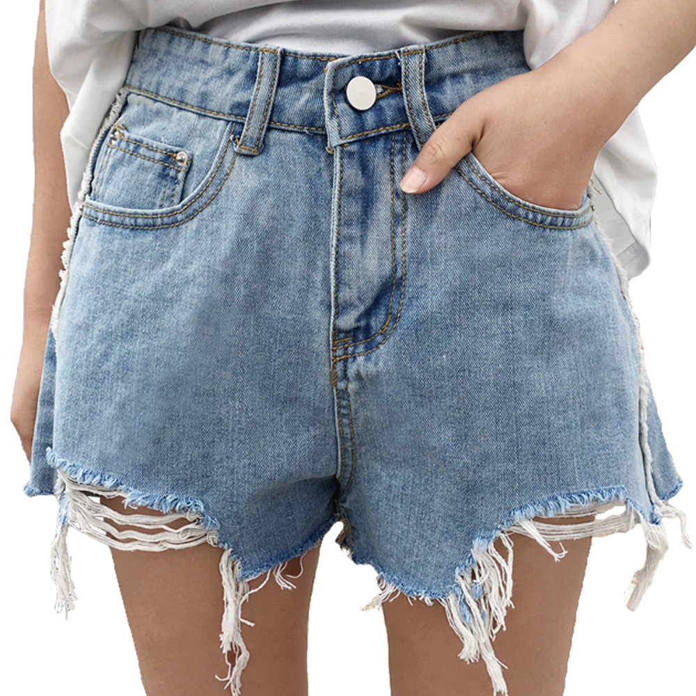 Cheap Wholesale 2018 New Spring Autumn Hot Selling Women's Fashion Casual Sexy Denim Shorts Outerwear A8526