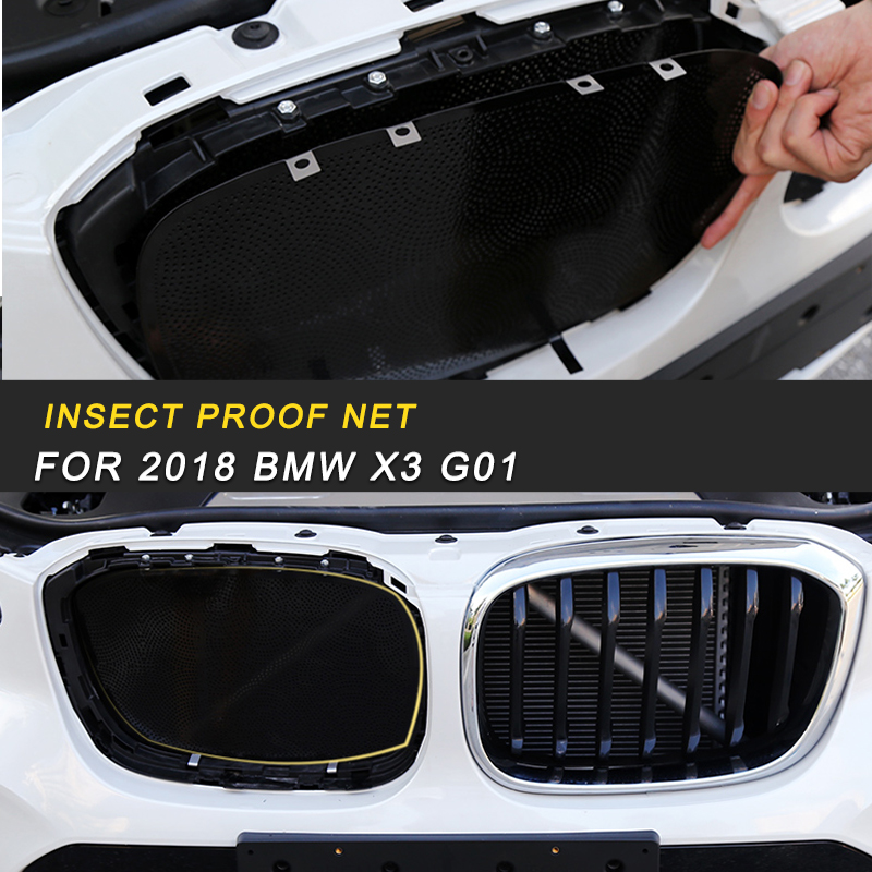 For 2018 2019 <font><b>BMW</b></font> <font><b>X3</b></font> <font><b>G01</b></font> X4 G02 Car Insect Dust Proof Anti Insect Screening Mesh Engine Hood Front <font><b>Grill</b></font> Insert Net image