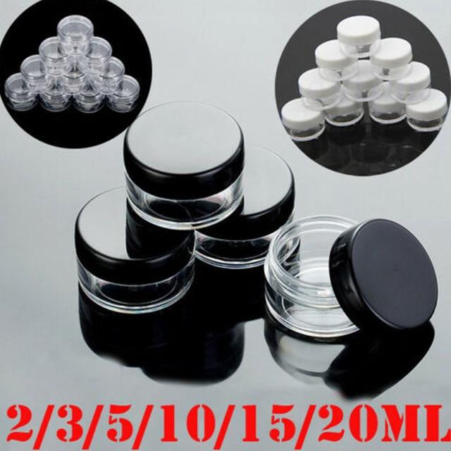 10 adet 2g/3g/5g/10g/15g/20g boş plastik şeffaf kozmetik kavanoz makyaj kutusu losyon şişe şişeleri yüz kremi örnek tencere jel kutusu