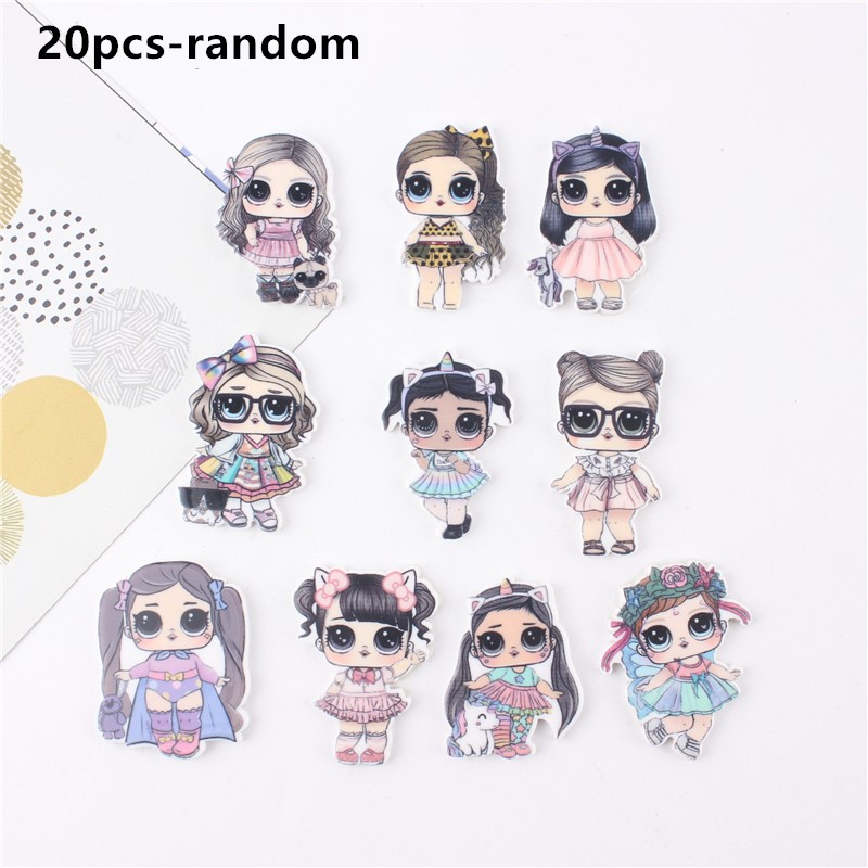 20pcs Baby Headbands Mini Cute Flat Back Acrylic Sheet Miniature Pattern Applique DIY Wedding Scrapbook Headwear Accessories