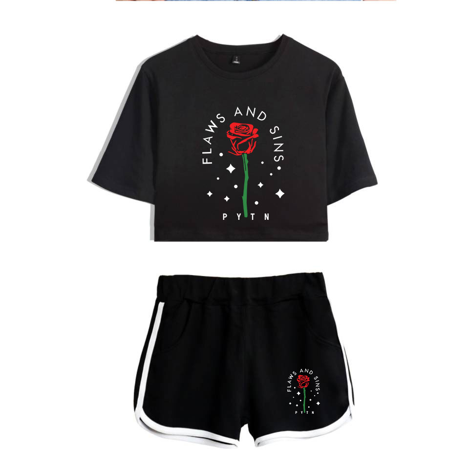 Harajuku Cool New 2020 Web Celebrity Payton Moormeier PYTN Print Women Two Piece Set Shorts+lovely T-shirt Hot Sale Clothes