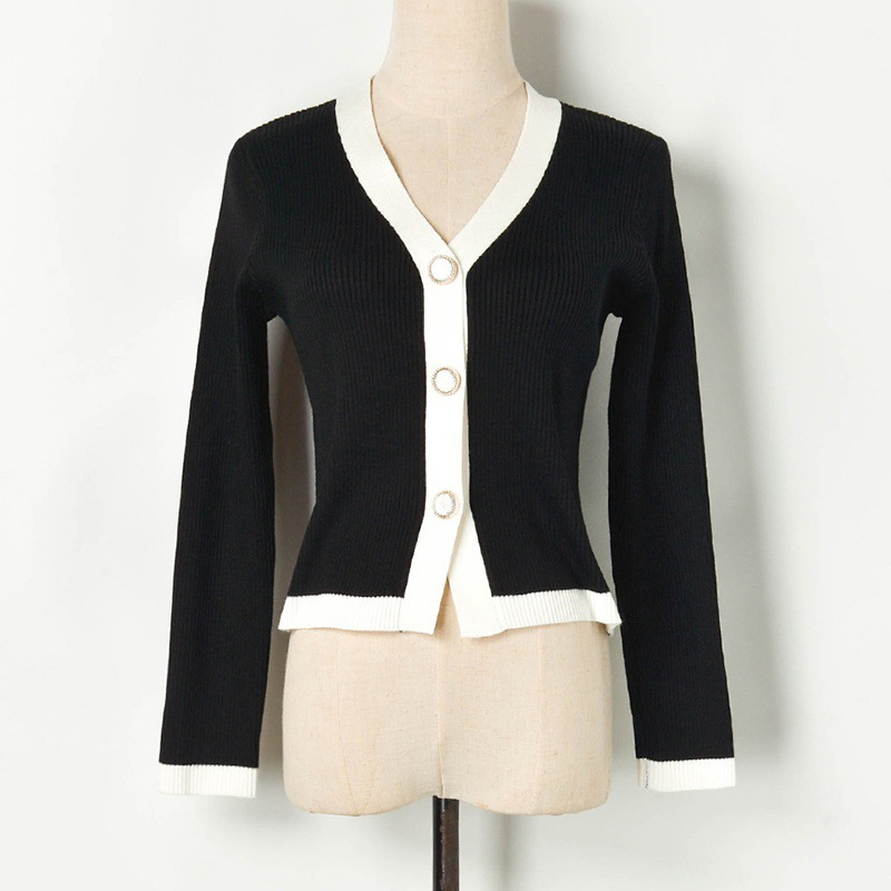 Knit Crop Cardigan Jacket 2019 Fall Hit Color V-neck Single Breasted Slim Knit Coat and Jacket Ladies Short Cardigan Crop Tops