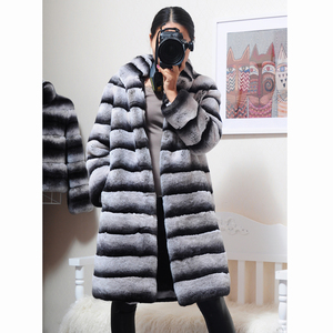 Image 2 - OFTBUY 2020 Luxury Witner Jacket Women Real Fur Coat Natural Rex Rabbit Fur Outerwear Striped Thick Warm Stand Collar Streetwear