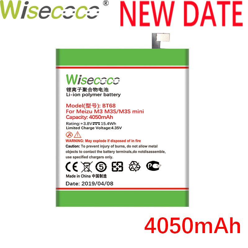WISECOCO 4050mAh BT68 <font><b>Battery</b></font> For Mei zu M3 <font><b>M3S</b></font> <font><b>mini</b></font> Y685Q M688Q M688C M688M M688U Latest Production New <font><b>Battery</b></font>+Tracking Number image