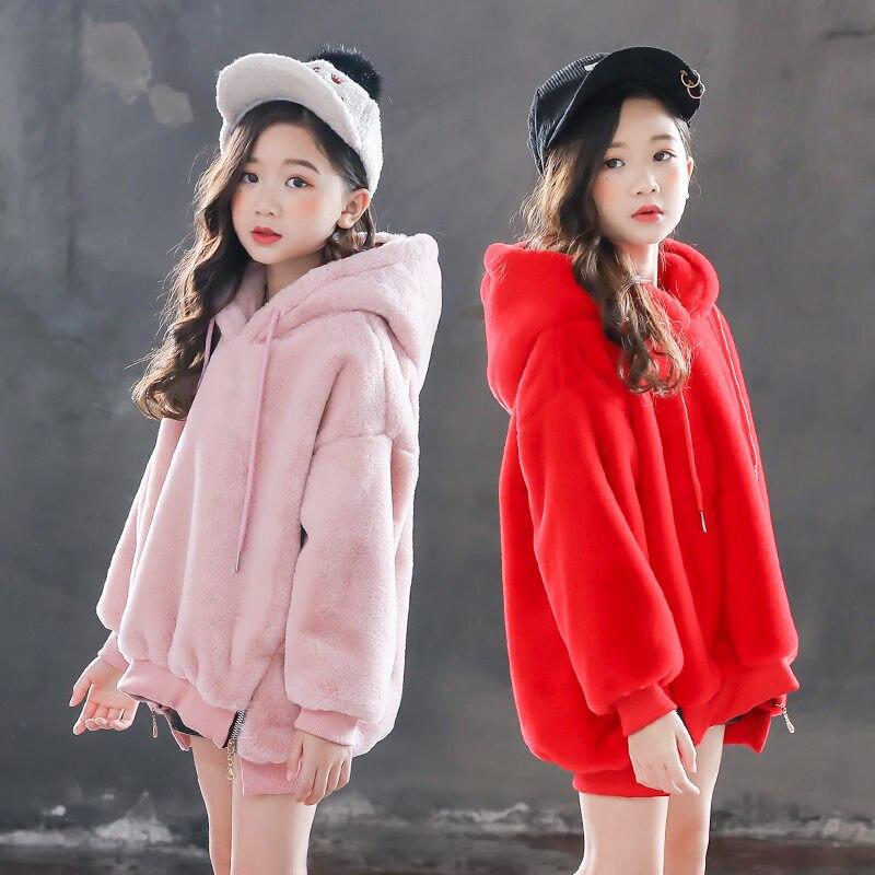 New Kids Fleece Sweatshirts Hoodies For Girls Autumn Winter Children Long Sleeves Pullover Warm Sweater Teens T-shirt Clothing
