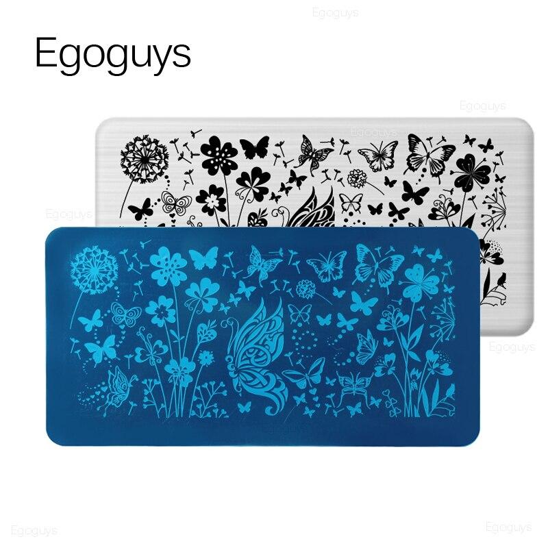 Кружева цветок животных ногтей штамповки пластины Мраморное изображение штамп шаблоны Геометрическая Печать трафарет Инструменты