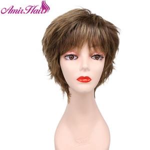 Amir короткие парики боб для женщин Черные Серые синтетические волосы Омбре коричневый блонд прямой слой пышный парик женские парики